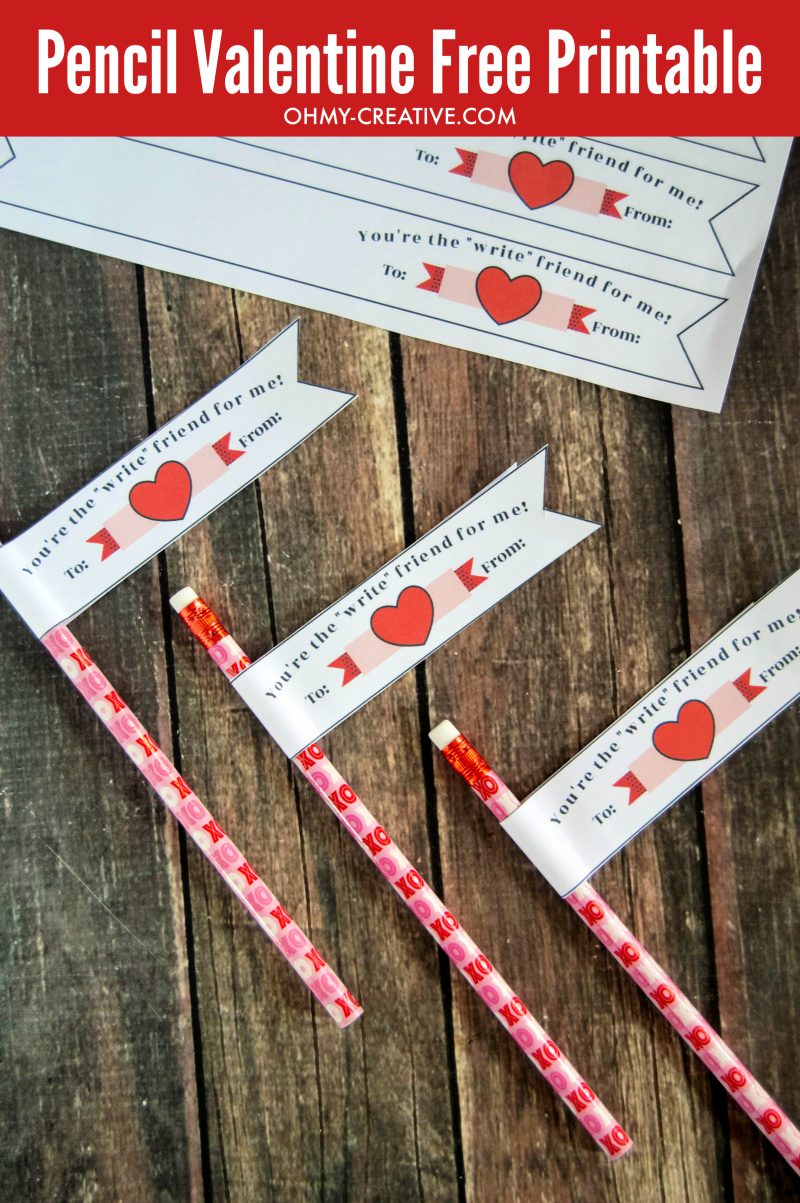 image relating to Valentine Banner Printable named Absolutely free Pencil Valentine Printable Banner The Little ones Will Enjoy