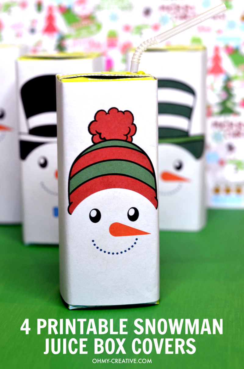 photograph about Printable Snowman Picture called Cost-free Printable Snowman Juice Box Handles - Oh My Inventive