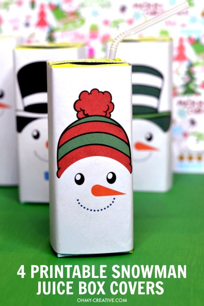 These Free Snowman Juice Box Cover Printables include four adorable designs. Perfect for winter parties or Christmas celebrations! OHMY-CREATIVE.COM #juiceboxcovers #snowmanprintables #christmasprintables #freeprintables #snowman #snowmanprintablesfreetemplet