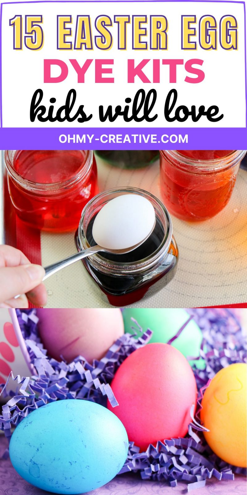 Easter Egg dye kits for kids. An egg is dipped into the liquid egg die and comes out in a bright color.