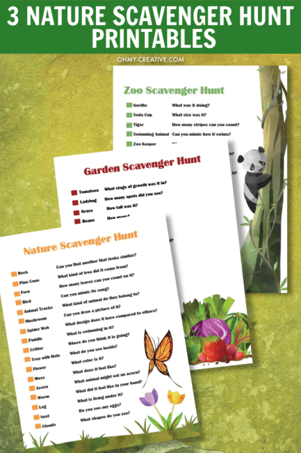 nature scavenger hunt printable pdf, zoo scavenger hunt printable pdf, garden scavenger hunt pdf