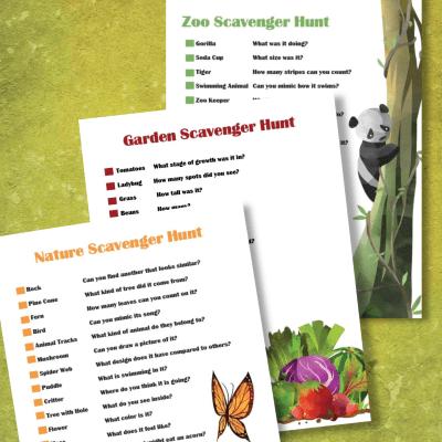 nature scavenger hunt printable pdf, zoo scavenger hunt printable pdf, garden scavenger hunt pdf