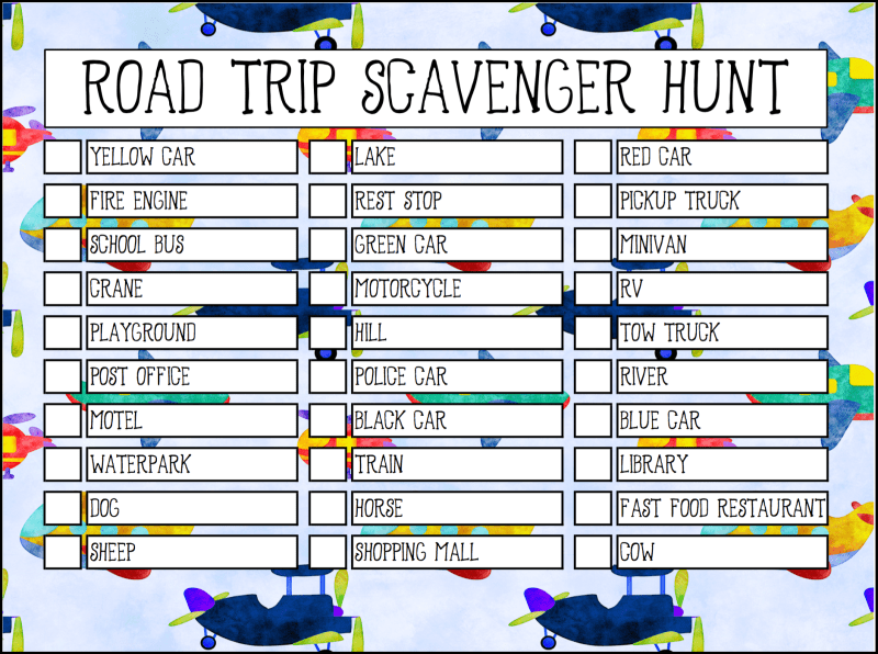 image regarding Road Trip Scavenger Hunt Printable called Absolutely free Highway Holiday Printable Scavenger Hunt - Oh My Artistic