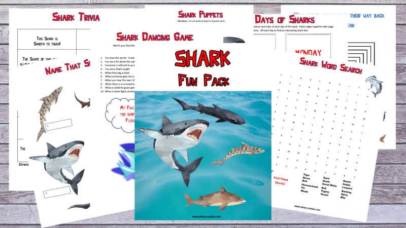 A sample of shark printable activity pages for kids.