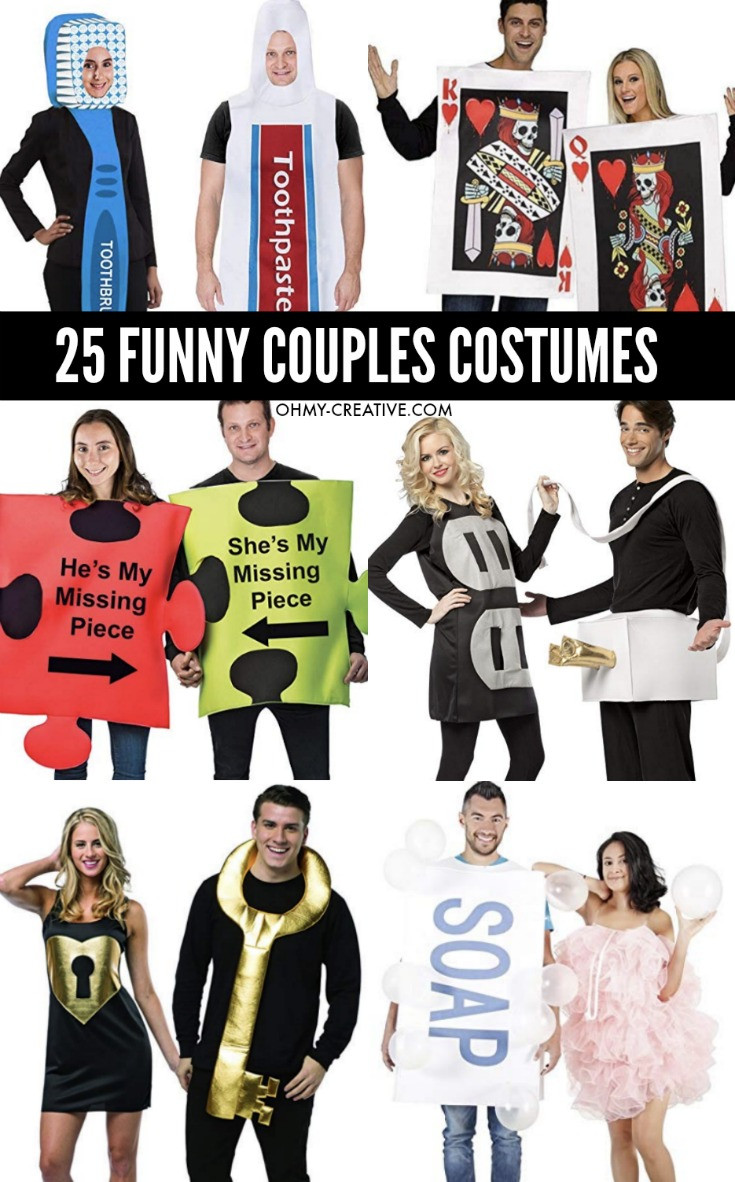 25 Funny Couples Halloween Costumes, toothbrush and toothpaste, outlet and plug, puzzle pieces, lock and key, soup and sponge, king and queen of cards costumes