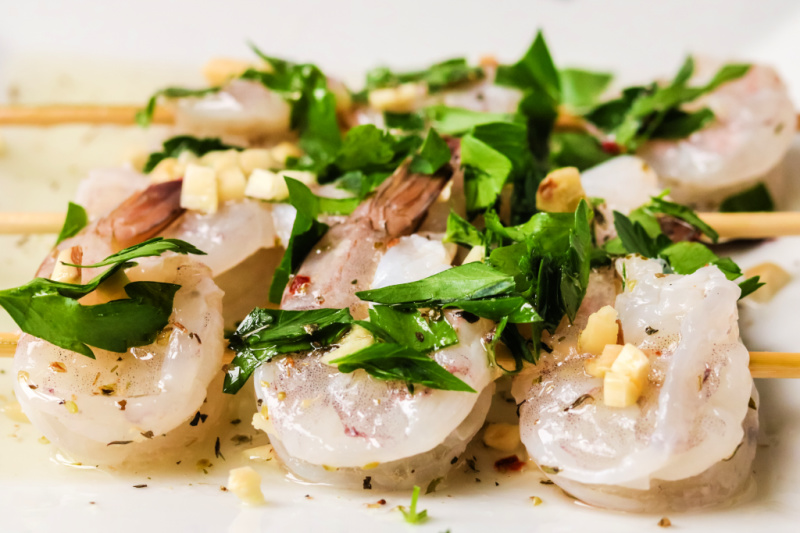 Grilled lemon garlic shrimp with homemade marinade