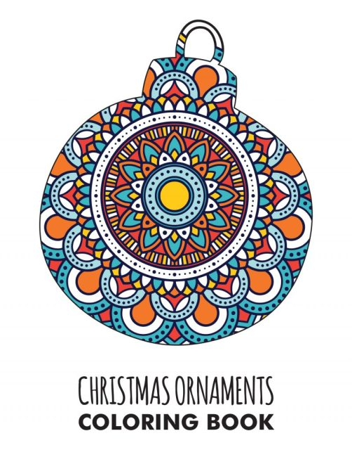 A round ornament coloring page filled in with bright colors.