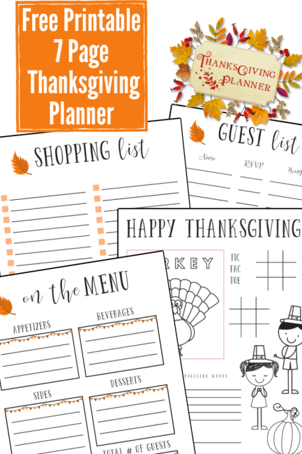 Organize your Thanksgiving dinner with this 7 page free printable Thanksgiving planner.