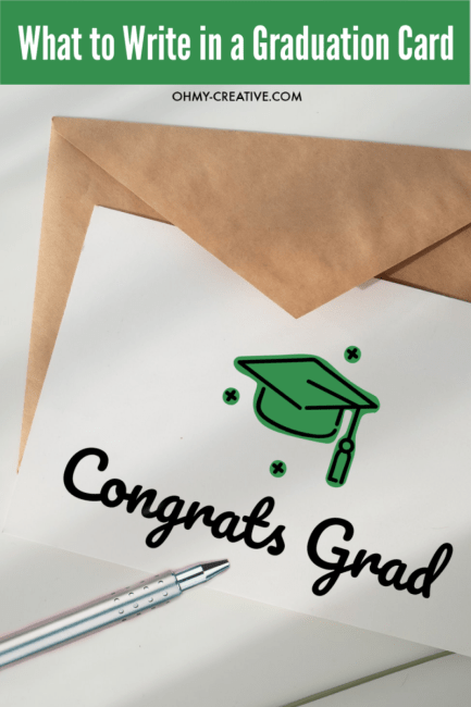 """Graduation card that says """"Congrats Grad"""" with envelope and a pen"""
