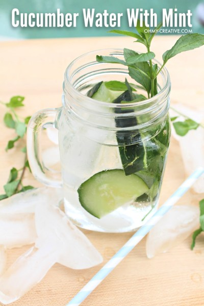 Cucumber Mint Water with slices of cucumbers topped with fresh mint