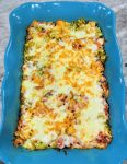 This cheeseburger casserole is served in a pretty baking dish - a great budget family meal.