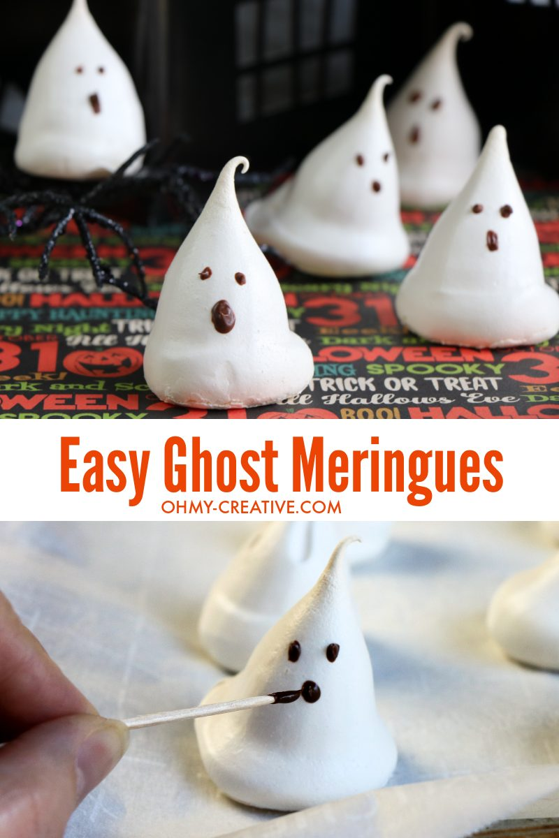 These ghost meringues are finish with the perfect scary background for Halloween!