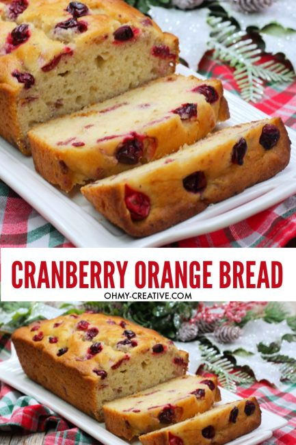 Warm baked cranberry bread sliced and ready to serve on a white plate for the holidays.