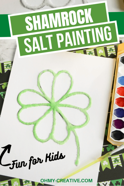 Print this free shamrock template and use watercolors and salt to create a green shamrock for St. Patrick's Day.
