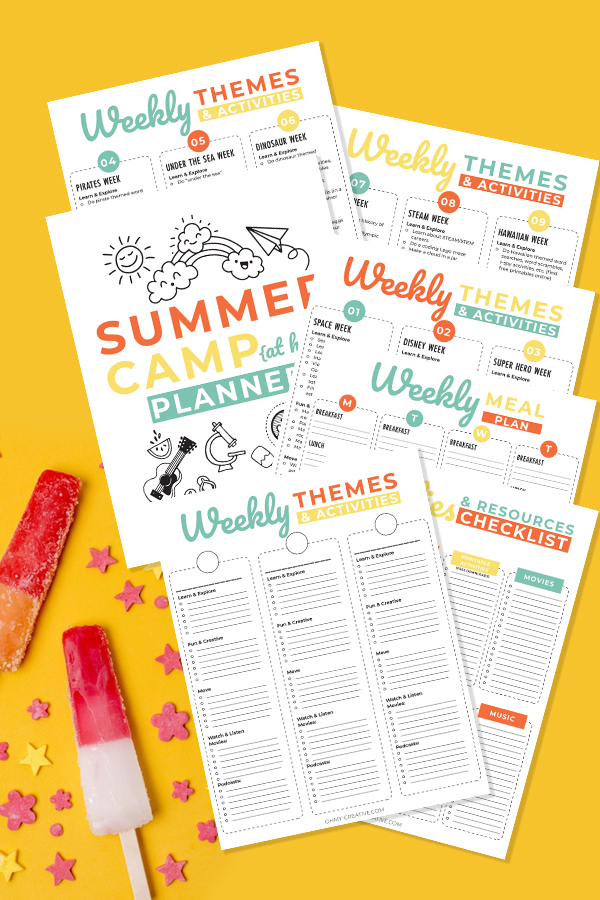 Download and print this free summer camp planner. Seven printable sheets to make summer fun displayed on a yellow background.