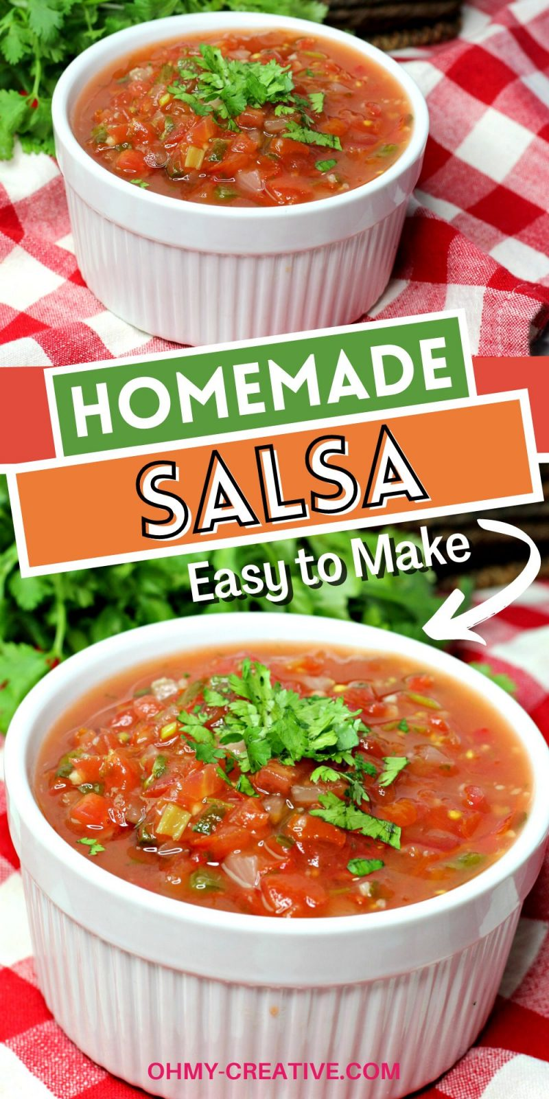 This easy homemade salsa recipe is served in a white bowl and is ready to serve with chips!