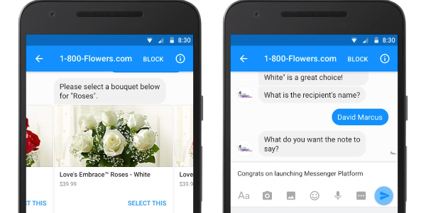 Chatbot messenger 1800 flowers