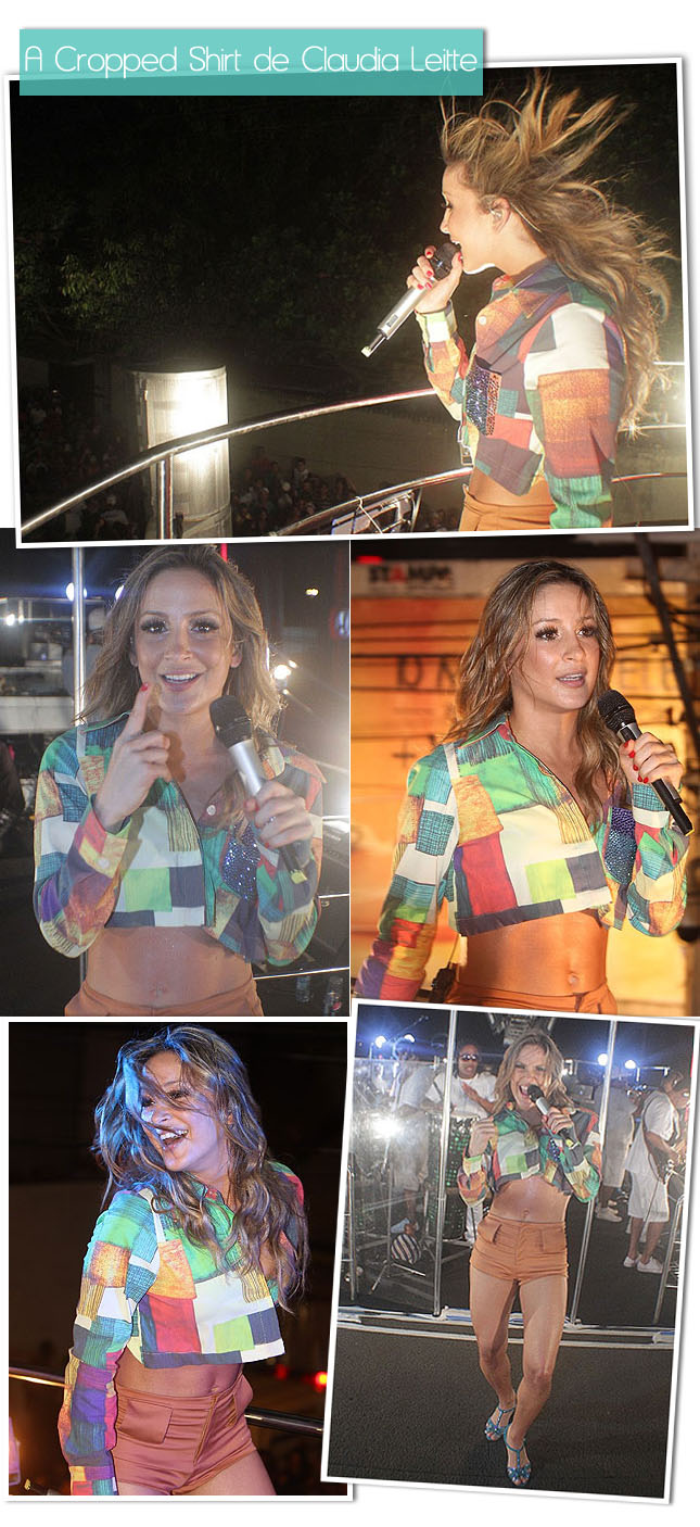 Look Claudia Leitte Cropped Shirt