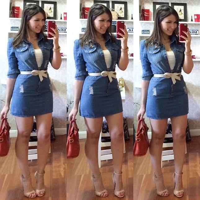 Look Inspiração: Mônica Araújo com vestido jeans.
