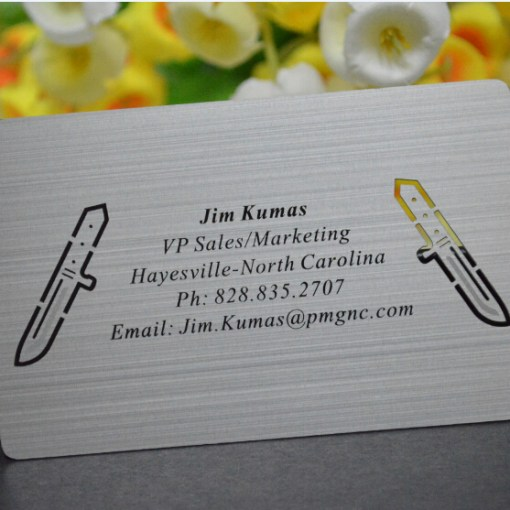 printed silver metal business cards