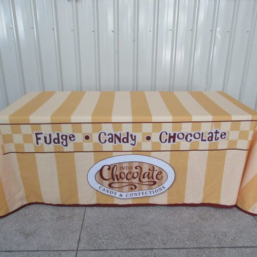 chocolate table cloth printed and graphic designed by oh my Print Solutions
