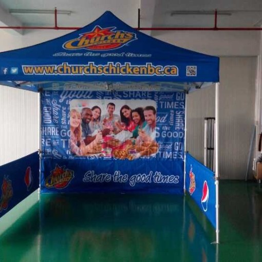 printed tent with walls