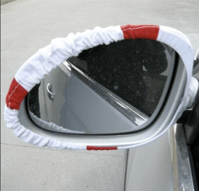 Driver view car mirror flag