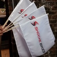 Hand flags with wooden pole
