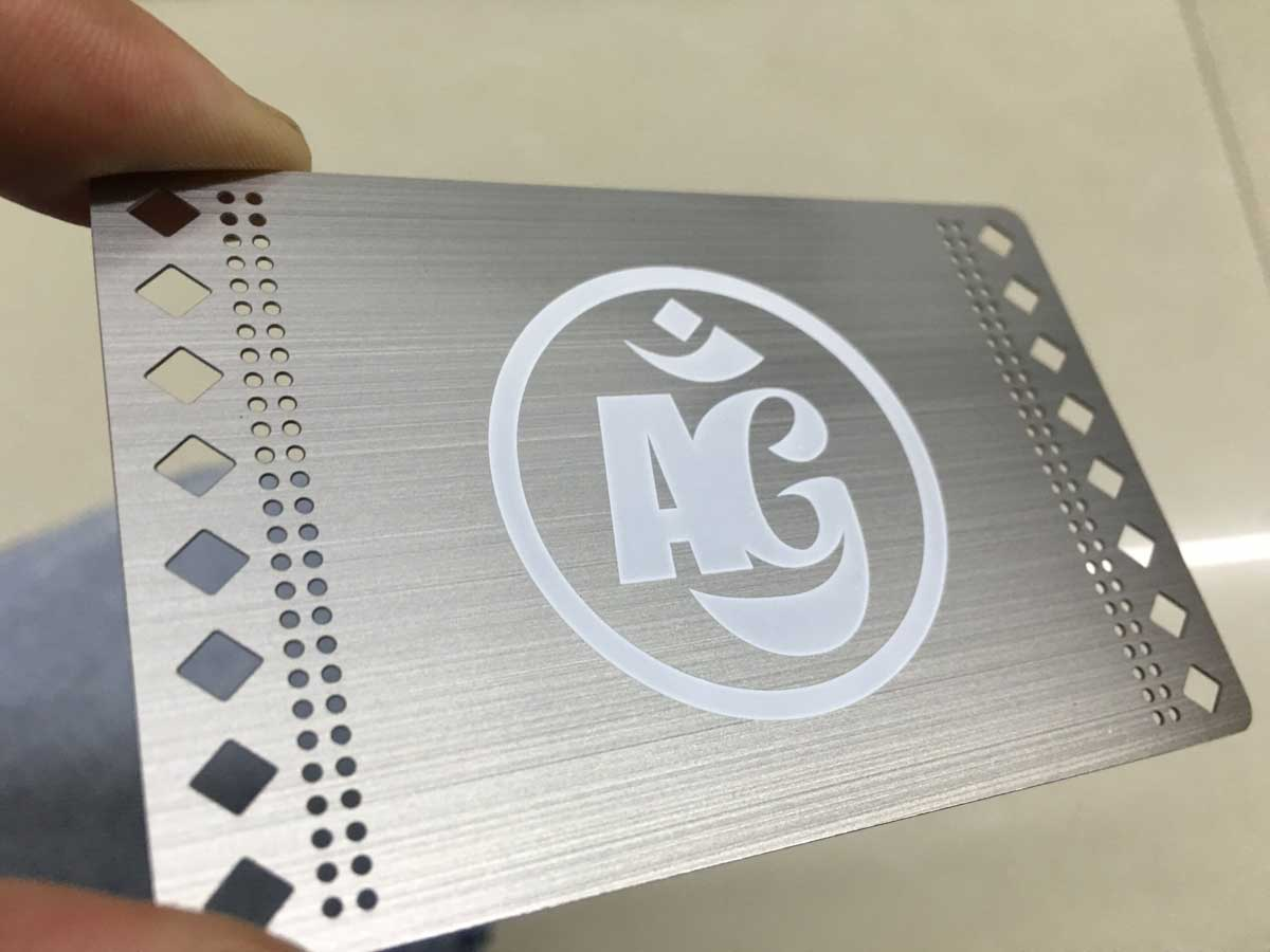 Brushed Etched metal business cards