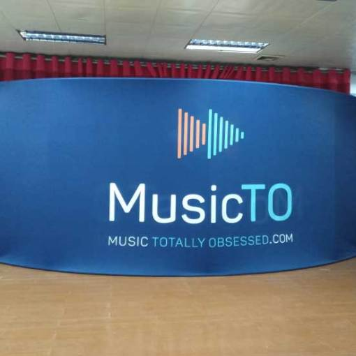 Back of 20 foot Tension Fabric Display Double Sided