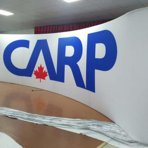 Custom 25 foot wide tension fabric display