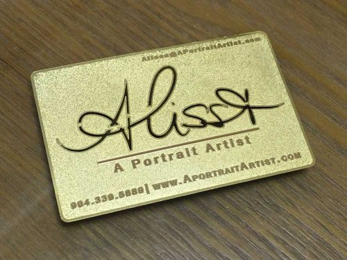 Frosted Texture gold metal business card