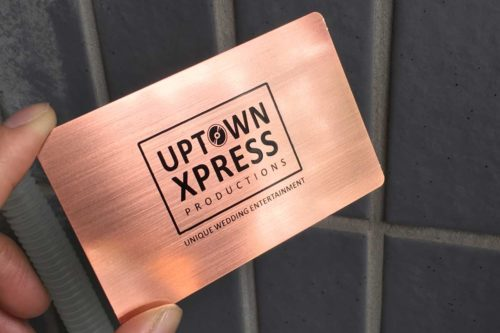 Brushed Rose Gold Metal Business Cards