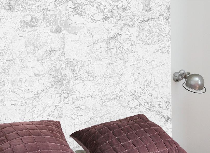 papier peint carte et territoire noir et blanc format medium ohmywall
