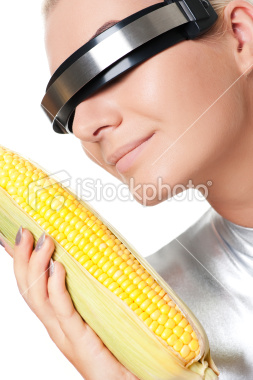Cyber woman with a corn Royalty Free Stock Photo