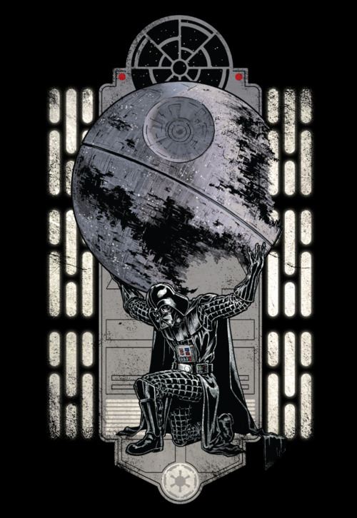 The weight of the entire Empire lies on the shoulders of the feared / awesome Darth Vader. Chris Kawagiwa's killer Atlas / Star Wars shirt design is now on sale now at WeLoveFine for $25.<br /> Related Rampages: Steam Punk (More)<br /> Darth Atlas by Chris Kawagiwa (deviantART) (Facebook) (Twitter)