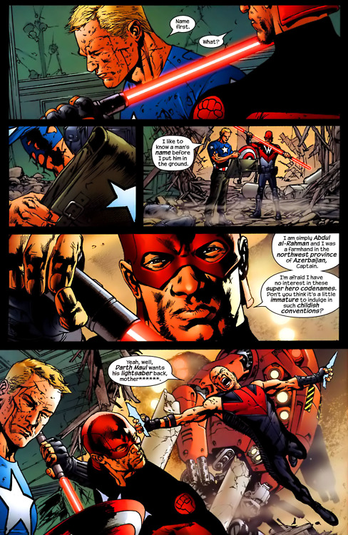 f0rbseh:  Cap's being all gentlemanly and then Hawkeye appears leaping through the eye with a wisecrack.Oh Hawkeye, never stop being awesome!  [Taken from The Ultimates 02 #12]  See, not an asshole. Ok Clint is being a bit ridiculous here but his family are dead and he has been tortured by this point. Cap is just being a gent'.