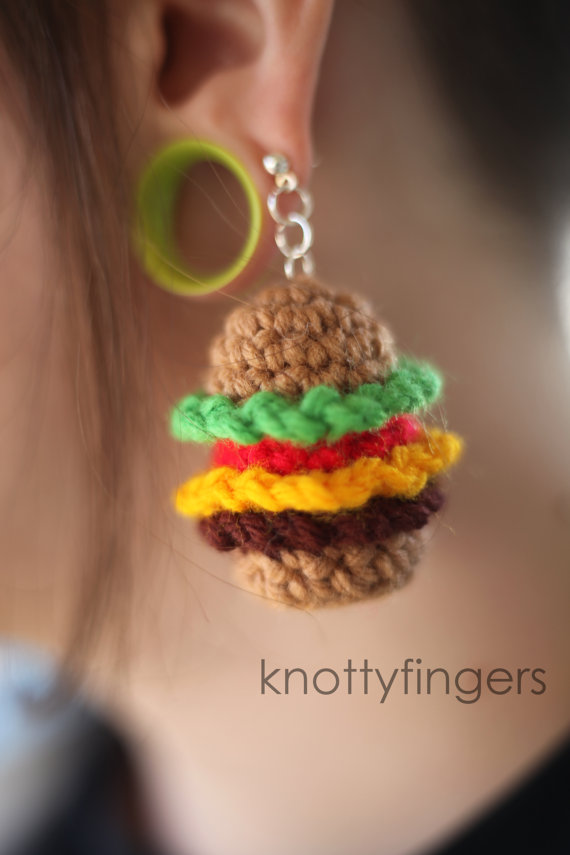 Cheese Burger Earrings - Made to Order - DIY Handmade Crochet