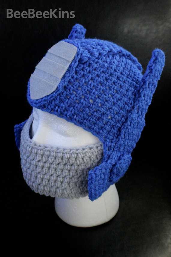 Opti-kins Prime Hat --- Pre-orders for the month of July 2012 -- inspired by Optimus Prime Transformer Hat