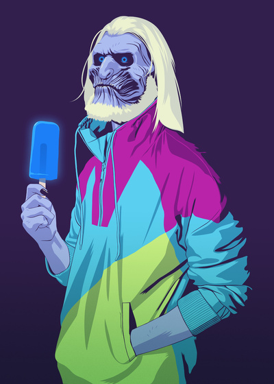 GAME OF THRONES 80/90s ERA CHARACTERS - White Walker Art Print