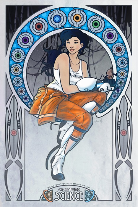 "Megan Lara brings another Art Nouveau style piece to her arsenal and gives it an awesome Portal 2 spin. It was created for a good cause too! ""This is a poster I did for Desert Bus For Hope 5. They'll be auctioning off a 12"" x 18"" print of it for the children"" - Megan Lara Art Nouveau Chell Poster by Megan Lara (Tumblr) (Facebook) (Twitter)"