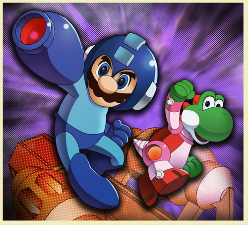 Mario and Yoshi were ready for something new and dangerous. They have been itching to try out Mega Man's gear for YEARS. Meet Mega  Mario and Rush Yoshi! This is a brilliant mash up by Marco D'Alfonso. Mega Mario by Marco D'Alfonso/m7781 (Blog) (deviantART)