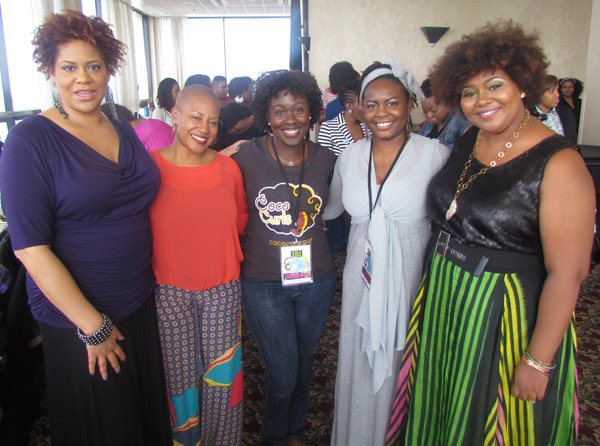 Kim Coles, Felicia Leatherwood, Jeannell Darden of Coco Curls, Sharina Hill of Thirsty Roots, and keynote speaker Afrobella