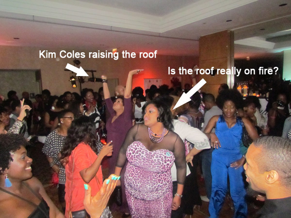 Kim Coles raising the roof and me looking to see if it was on fire