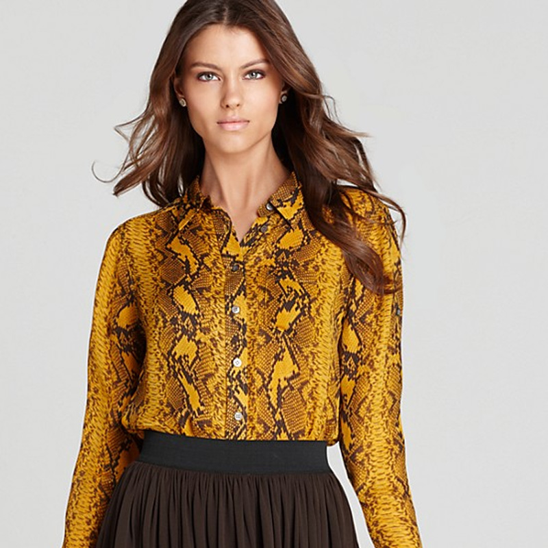 Vince Camuto Roll Tab Button Front Snakeskin Blouse from Macy's