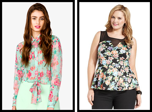 Floral Print Shirt & Soprano Sleeveless Floral Print Peplum Top