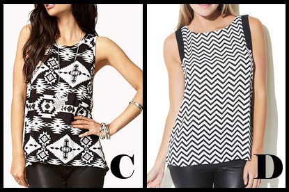 Tribal Print High Low Tank with Chevron Printed Tunic