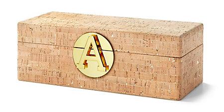 C Wonder Gold Flecked Cork Jewelry Box