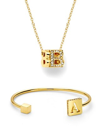 C Wonder Pave Cube Initial Necklace Pave Edged Delicate Initial Cuff