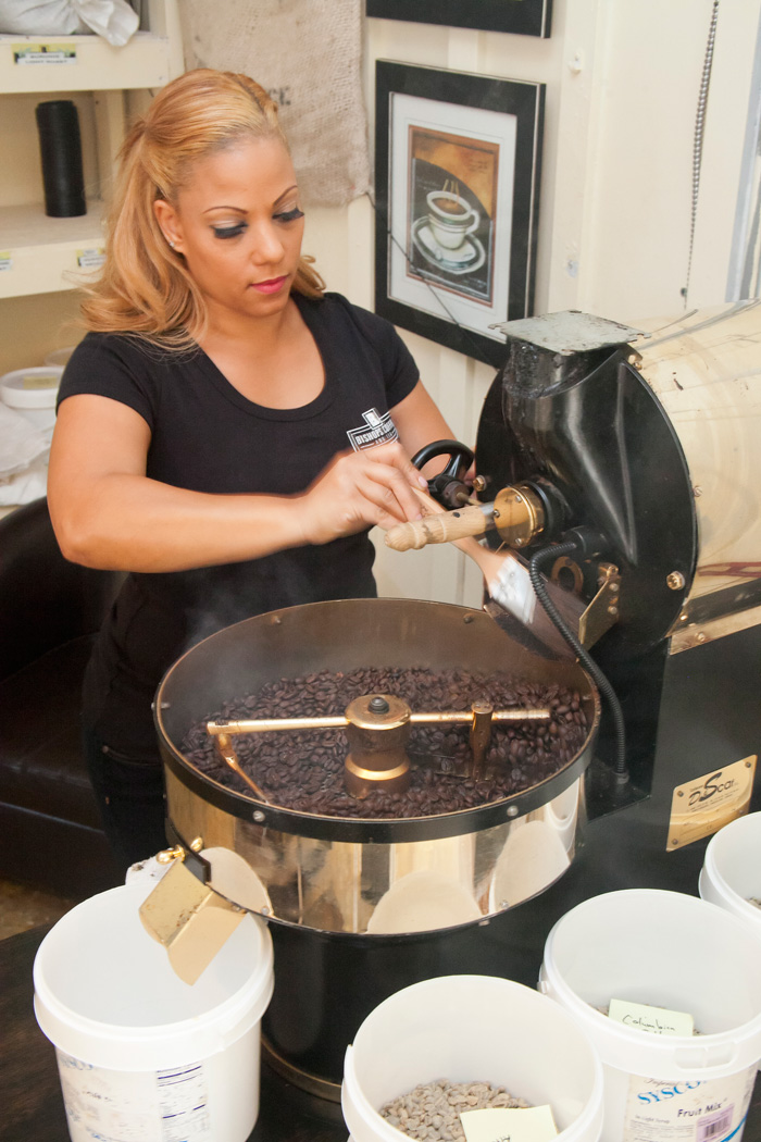Owner Tionna Bishop roasting Coffee at Bishops Coffee and Tea